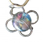 Pendant ... Alpaca Silver Flower Pendant & Blue Murano feature with PU Suede Thong