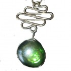 Pendant ... Green Murano Crystal & Alpaca Silver with PU Suede Thong