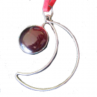 Pendant ... Moon Pendant with Red Murano feature with PU Suede Thong