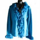 Womens ... Fringed Cardi Top TURQUOISE